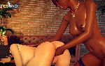 Hot interracial fingering lesbian sex in virtual game