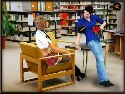 Dirty schoolgirl seduces a boy in a library